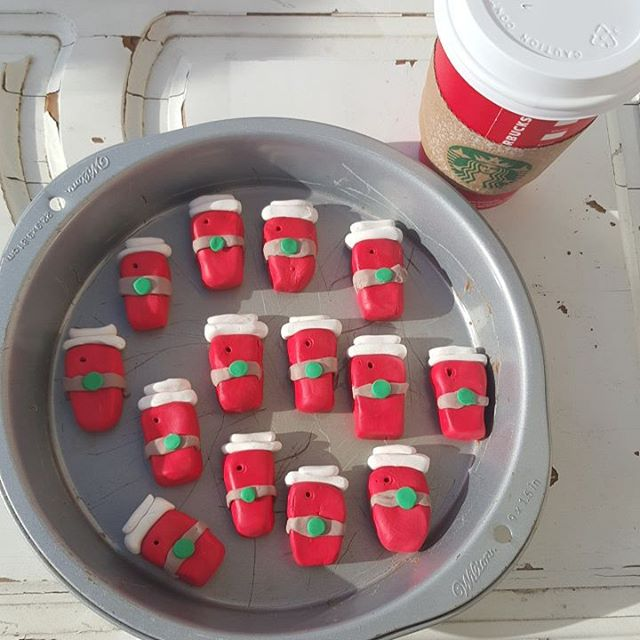 Mini @starbucks red cup ornaments for the whole crew at our local store ... made by the kids with @sculpey_polyform !  We love our local Starbucks and can't wait to deliver these.  #diychristmas #clay #kidcraft