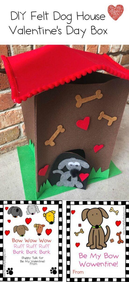 DIY Valentines Day Box Dog House Puppy Felt