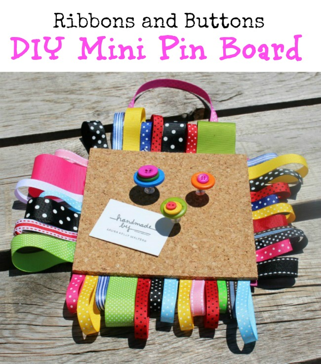 DIY Bulletin Board Craft Ribbons and Buttons Decoration