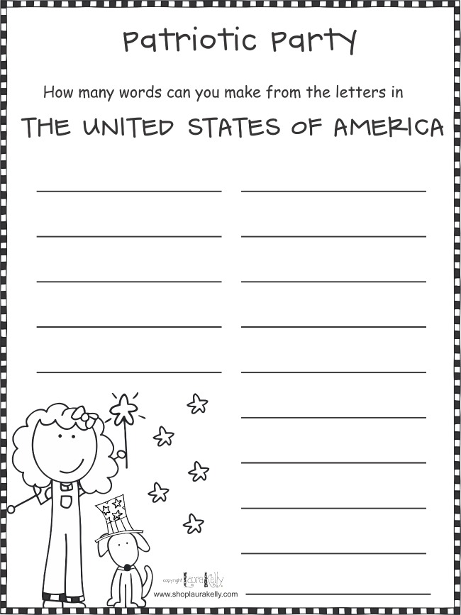 Create Words from The United States of America Printable Activity Free