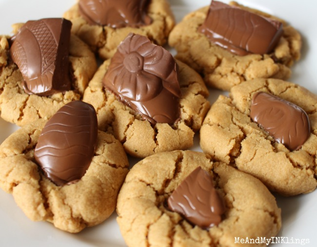 Chocolate Easter Bunny Pieces in Peanut Butter Cookies