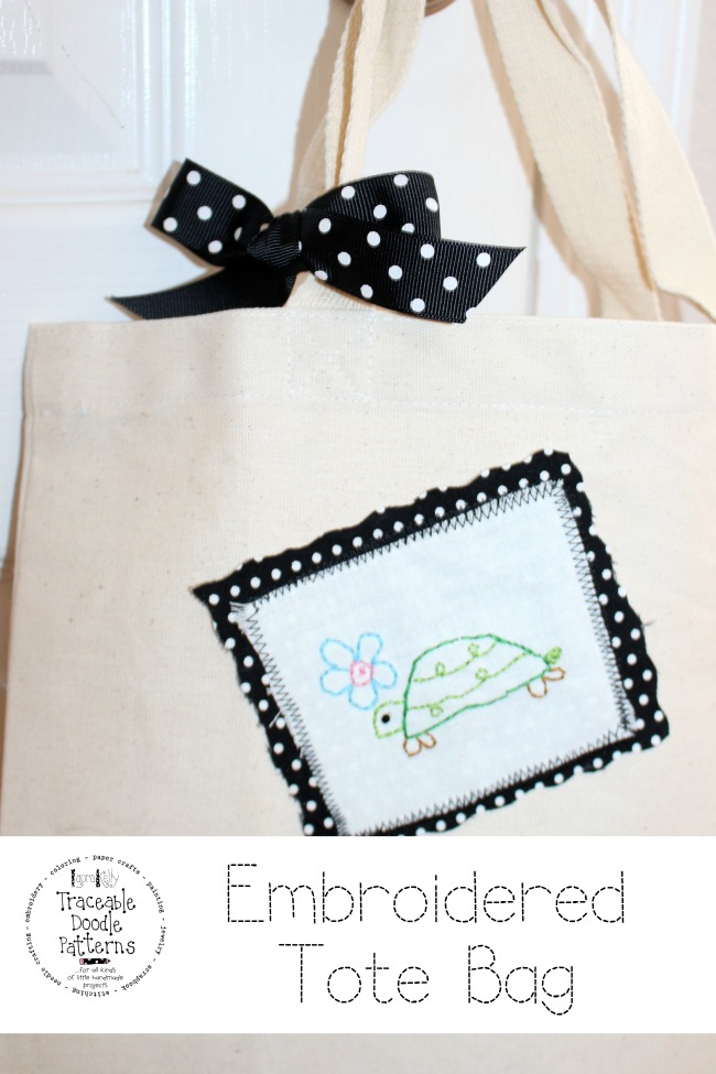 Embroidered Turtle Doodle Art Tote Bag