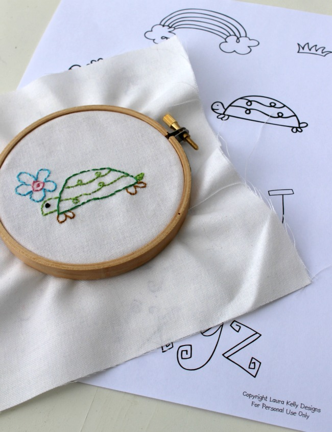 Embroidered Turtle Laura Kelly Doodle Art