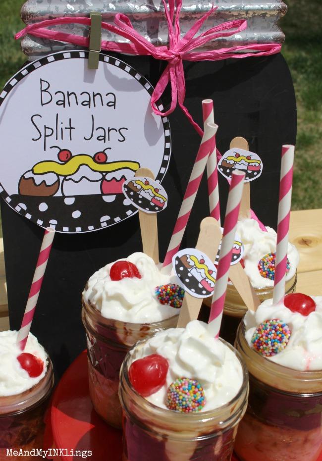 Banana Split Desserts in Jars