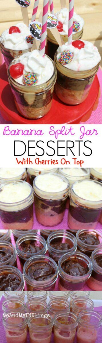 Banana Split Jar Desserts Collage