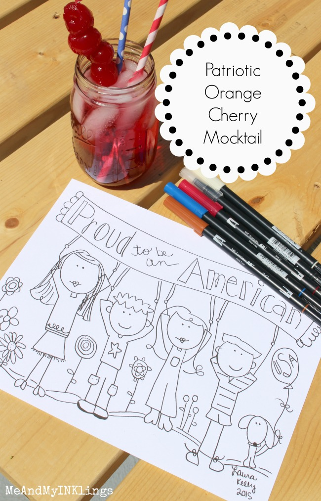 Patriotic Orange Cherry Mocktail and Free Printable