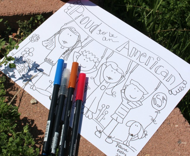 Proud to Be An American Doodle Coloring Sheet Laura Kelly