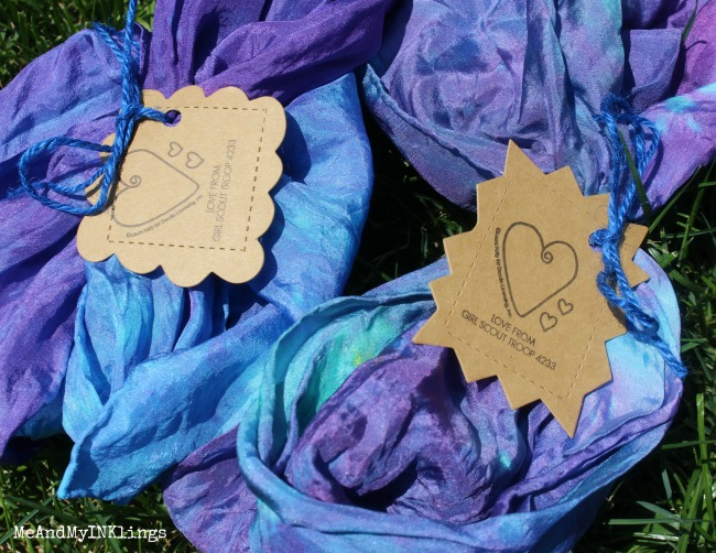 Girl Scout Tie Dye Scarves Expressionery Stamped Tags