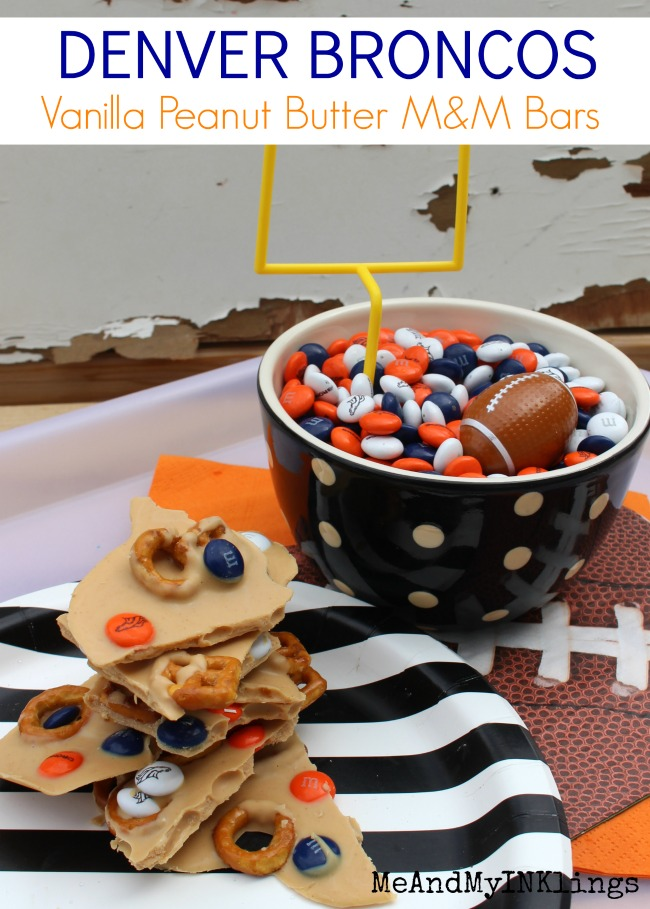 Denver Broncos Vanilla PB M and M Bars