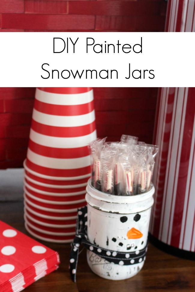 DIY Painted Snowman Jars