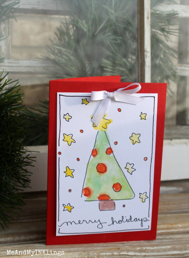 Tree Holiday Watercolor Card