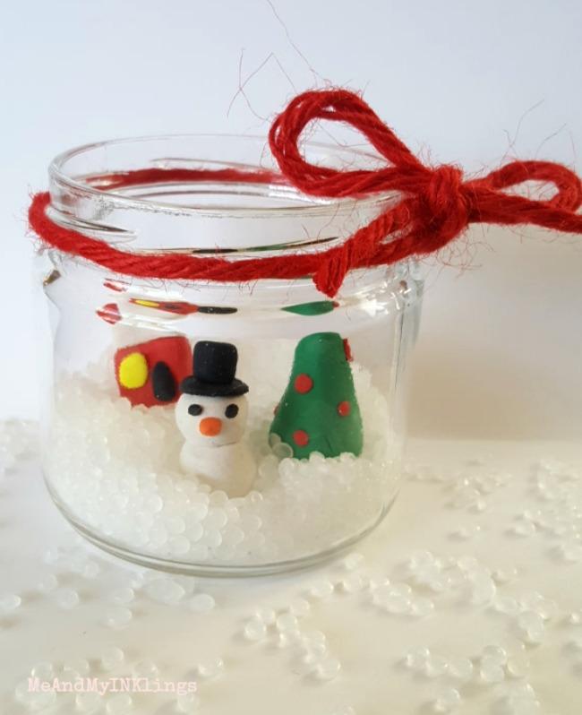 Snow Globe in Recycled Jar