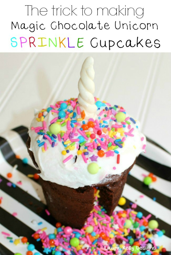 Magical Chocolate Unicorn Sprinkle Cupcakes Laura Kelly