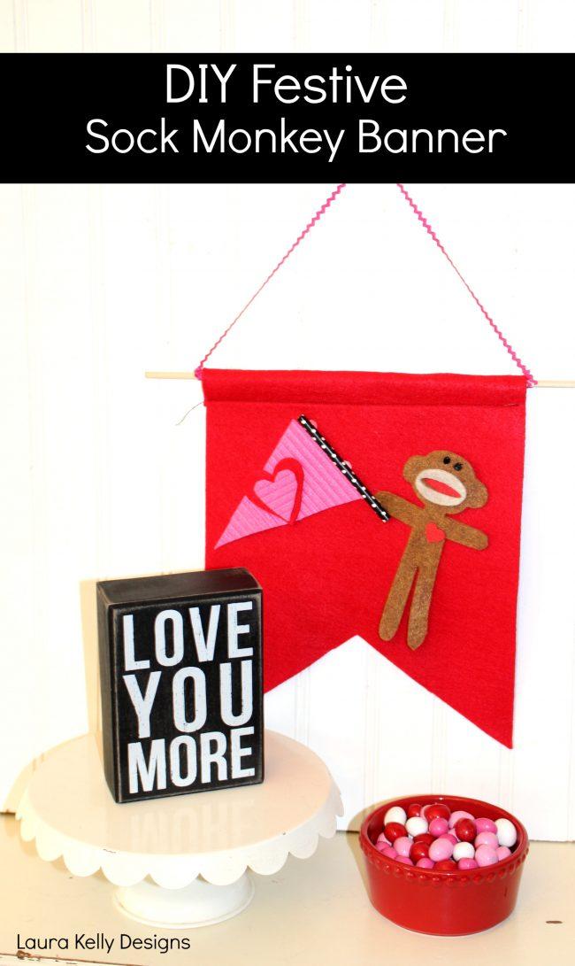 Sock Monkey Valentine Felt Banner Garland