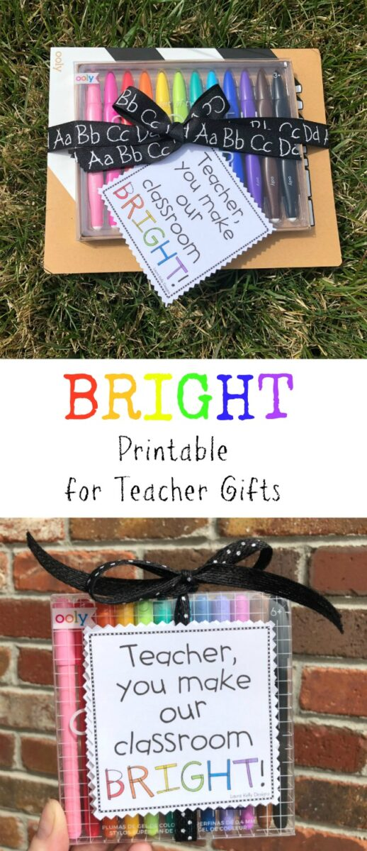 Free Teacher Gift Tag Printable Bright Markers