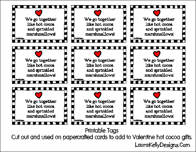 Valentine Hot Chocolate Printable Gift Tags