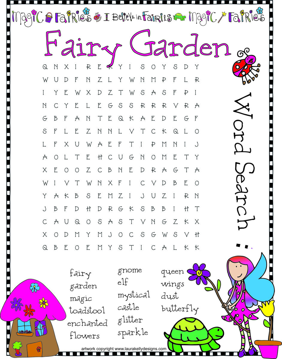 Fairy Garden Word Search Puzzle