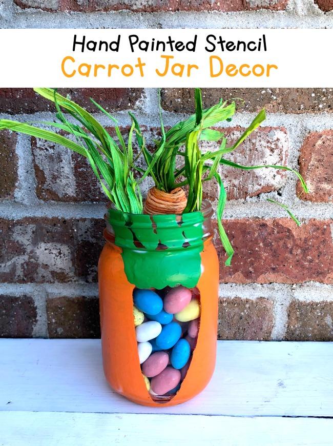 Hand Painted Carrot Stencil Jar Decor