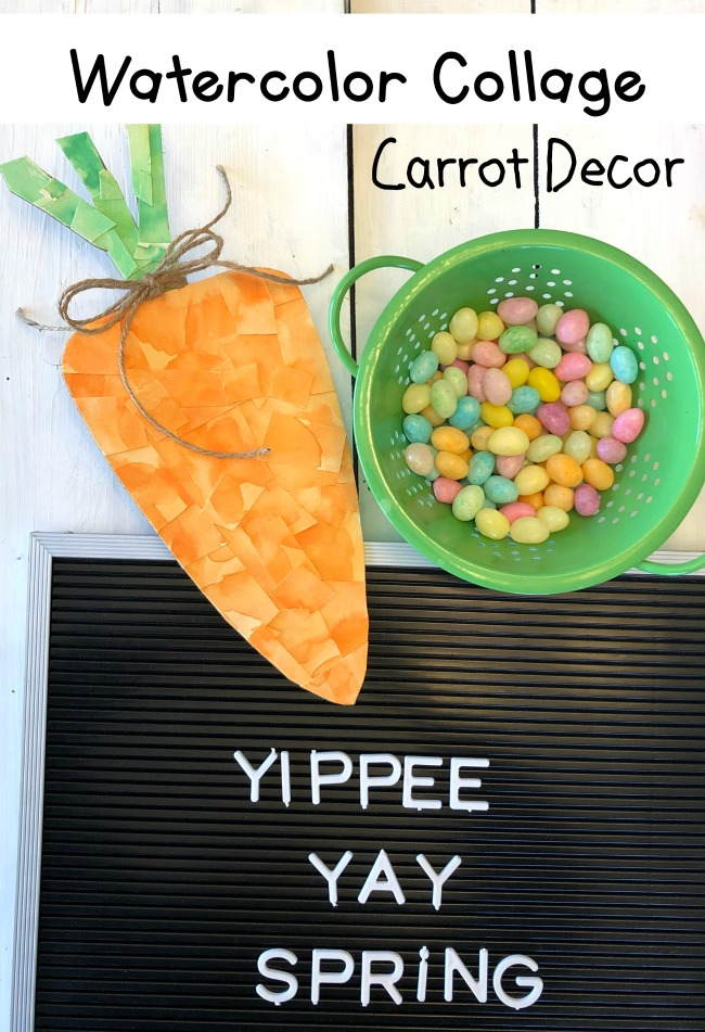 Watercolor Collage Carrot Decor DIY Spring Easter Project