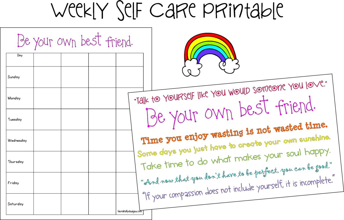 Self Care Planner Printable Weekly Quotes
