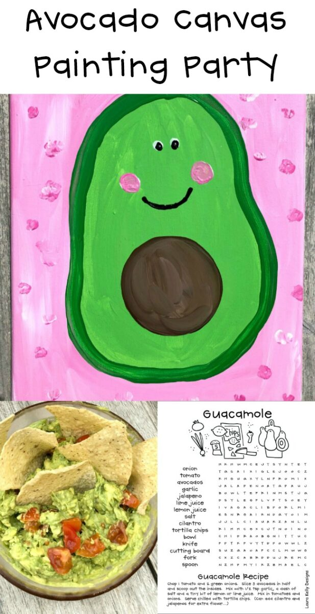 Avocado Canvas Painting Party and Guacamole Recipe Printable Game