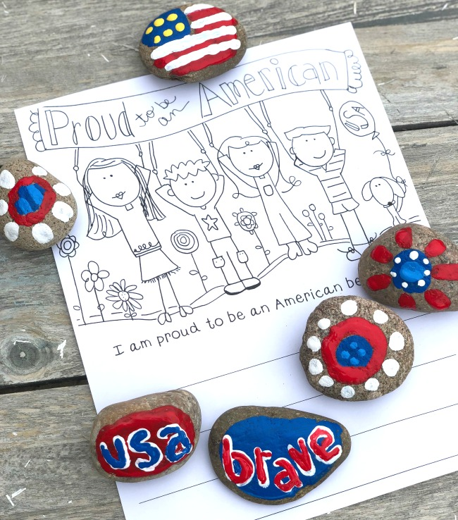 Rock Painting for the Fourth of July and Printables Too