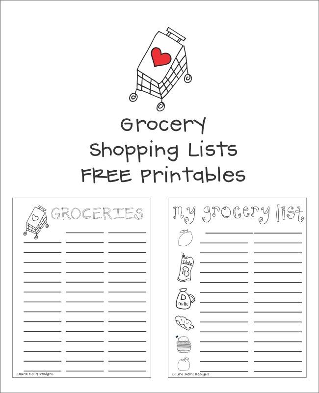 Grocery Shopping List Free Printable Laura Kelly Designs