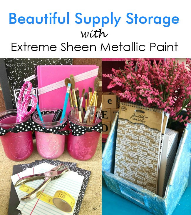 Extreme Sheen Metallic Painted School Supply Organization Containers