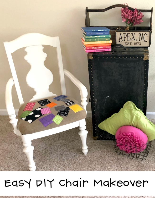 Esay DIY Chair Makeover with Chalky Finish Paint, Hand Stitched Patches and Few Hours of Fun Creating Time