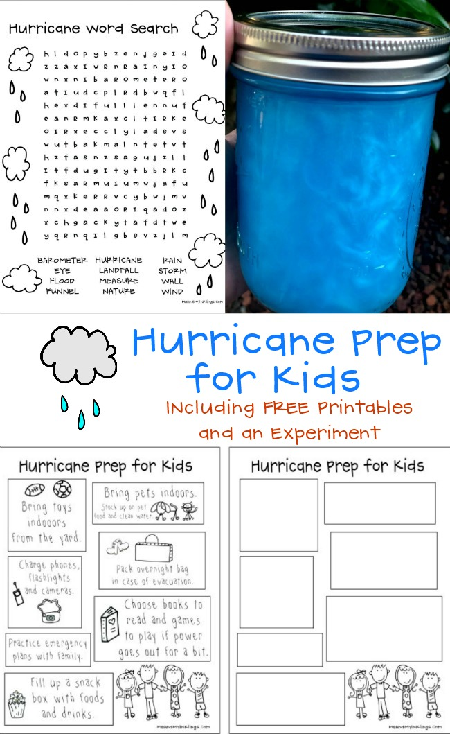 Hurrican Prep for Kids with Activities and Experiment