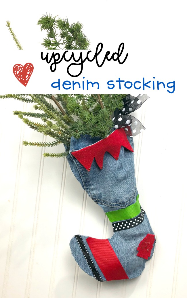 Upcycled Denim Stocking DIY for Beginning Crafters