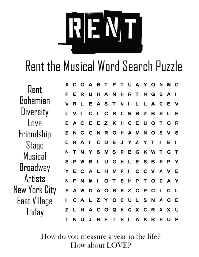 Rent the Musical Word Search Puzzle Printable