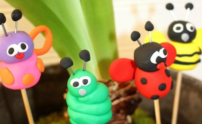 Sculpey Bugs on Sticks for the Garden