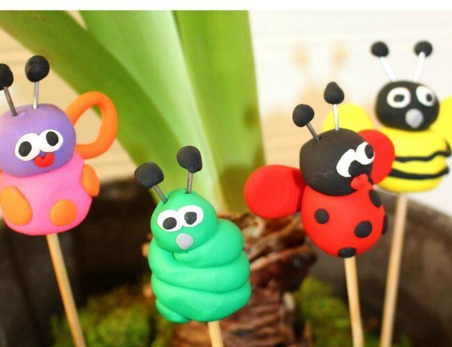 Clay Bug Garden Stakes