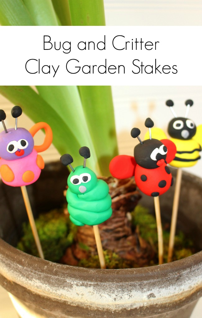 Sculpey Bugs on Sticks for the Garden