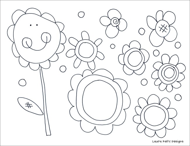 Daisies Collage Coloring Printable