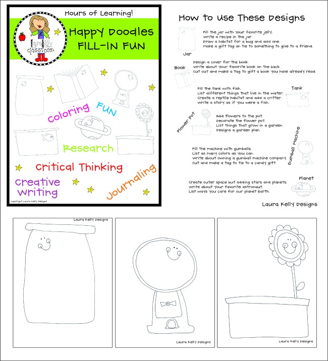 Laura Kelly Designs Happy Doodles Fill In Fun Printable