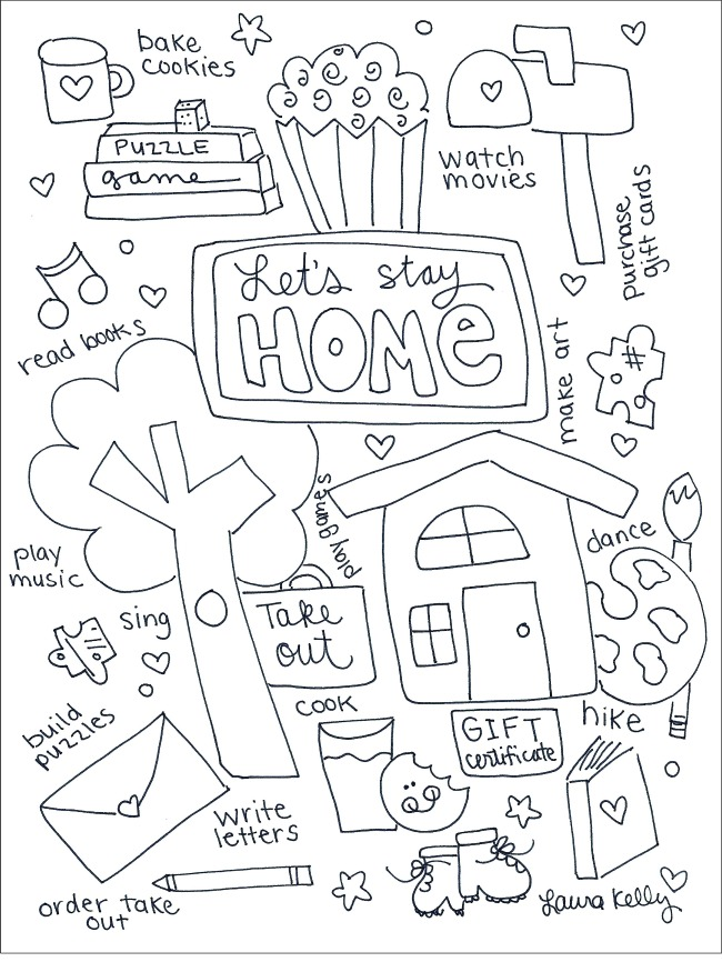 Lets Stay Home Coloring Printable