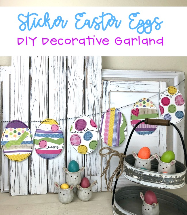 Sticker Easter Eggs Decorative Garland Kid Craft