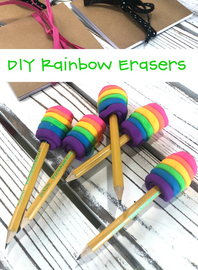 DIY Rainbow Erasers #diy #rainboweraser #clayeraser #eraserclay