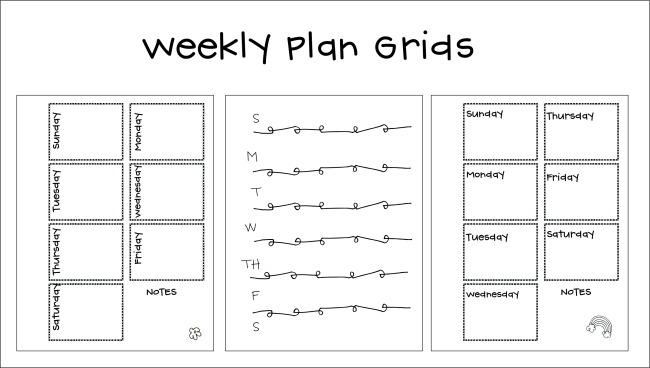 Free Weekly Planner Grids for Planning and Organizing