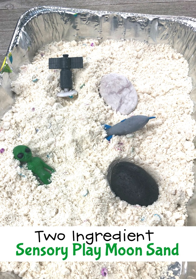 Two Ingredient Sensory Play Moon Sand #moonsand #diymoonsand #cloudsand