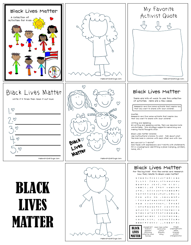 Black Lives Matter Printables for Kids Coloring and Activities